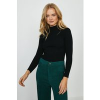 Coast Knit Rib Long Sleeve Funnel Neck Top -, Black