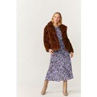 Coast Double Breasted Faux Fur Coat -, Caramel