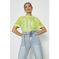 Coast Lace T-Shirt -, Neon-Yellow