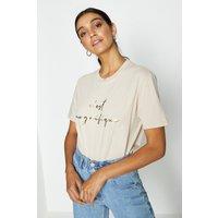 Coast Foil Print C'est Magnifique T-Shirt Stone, Brown