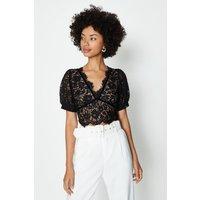 Coast Short Sleeve Lace Button Detail Top, Black