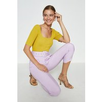 Coast Knitted Rib Square Neck Top -, Yellow
