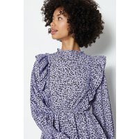 Coast Ditsy Shirred Neck Peplum Hem Long Sleeve Top, Lilac