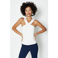 Coast Cross Front Neck Ponte Top, Ivory