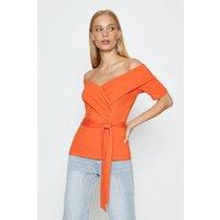Coast Bardot Tie Front Ponte Top, Orange