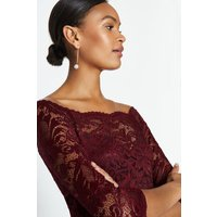Coast Off the Shoulder 3/4 Sleeve Lace Body, Red