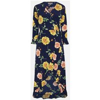 Coast Printed Wrap Midi Dress, Navy