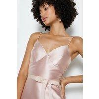 Coast Strappy Satin Tie Front Midi Dress, Pink