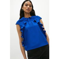 Coast Pintuct and Frill Cap Sleeve Top, Blue