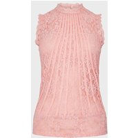 Coast Mesh And Lace Collared Shell Top -, Pink