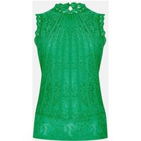 Coast Mesh & Lace Collared Shell Top, Green
