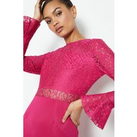 Coast Long Sleeve Lace Short Shift Dress, Cerise