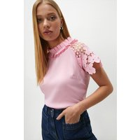 Coast Lace Sleeved Shell Top -, Pink