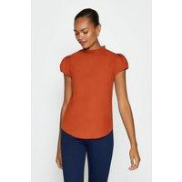 Coast Short Sleeve Frill Neck Top, Orange