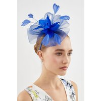 Feather Flower Fascinator Blue, Blue