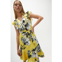 Coast Ruffle Neck Printed Dress -, Yellow