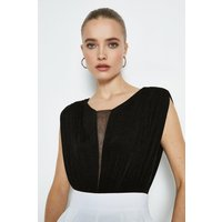 Coast Sleeveless Sheer V Body, Black