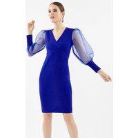 Organza Puff Sleeve Wrap Dress Blue, Blue