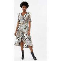 Coast Animal Print Wrap Midi Dress -, Blackwhite