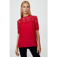 Coast Sleeved Lace Shell Top -, Red
