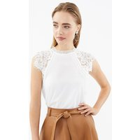 Lace High Neck Cap Sleeve Top Ivory, Ivory