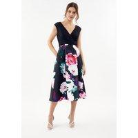 Coast Printed Wrap Full Skirt Midi Dress, Navy