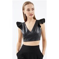 PU Ruffle Shoulder Top Black, Black