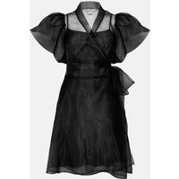 Coast Short Sleeve Organza Wrap Dress, Black
