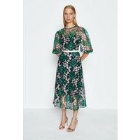 Coast Puff Sleeve Embroidered Midi Dress, Green