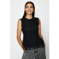 Coast Lace Shell Top With Spot Tulle Hem, Black