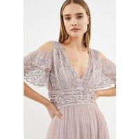 Cold Shoulder Scattered Embellished Maxi Dress Pink, Pink