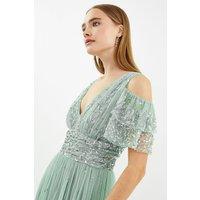 Cold Shoulder Scattered Embellished Maxi Dress Sage, Sage