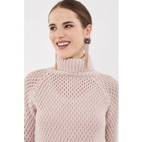 Coast Chunky Roll Neck Sequin Knit Top, Pink