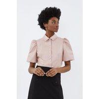Puff Sleeve Pu Shirt Pink, Pink