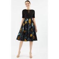 Solid Bodice Clipped Jacquard Skirt Dress Multi, Multi
