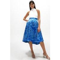 Coast Jacquard Full Midi Skirt -, Blue