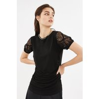 Lace Puff Sleeve Jersey Top Black, Black