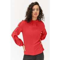 Long Sleeve Gold Button Shell Top Red, Red
