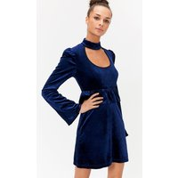 Choker Ruffle Waist Dress Navy, Navy
