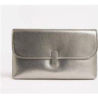 Metallic Clasp Clutch Bag Pewter, Grey