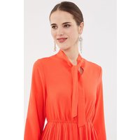 Coast Tie Neck Pleat Shirt Dress, Tomato