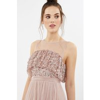 Coast Sequin Tulle Frill Bodice Maxi Bridesmaid Dress, Pink