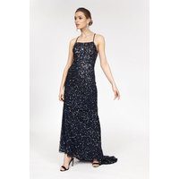 Coast All Over Sequin Cross Over Back Maxi Dress, Navy