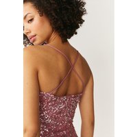 Coast All Over Sequin Cross Over Back Maxi Dress -, Pink