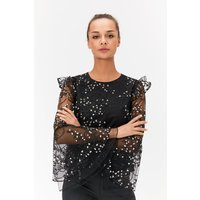 Frill Sleeve Embroidered Top Black, Black