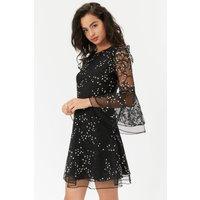 Coast Embroidered Flute Sleeve Dress, Black