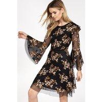 Embroidered Bell Sleeve Dress Black, Black