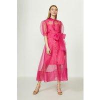 Coast Organza Puff Sleeve Dress, Pink