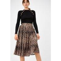 Leopard Pleat Satin Skater Skirt Brown, Brown