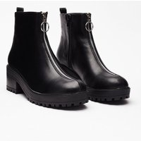 Faux Leather Zip Ankle Boots